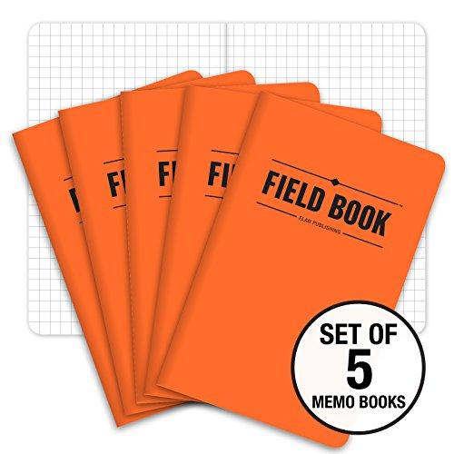 Field Notebook - 3.5x5.5 - Orange - Graph Memo Book - Pack of 5