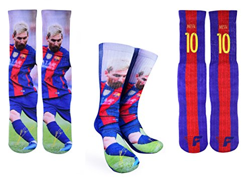 Forever Fanatics Barcelona Messi #10 Soccer Crew Socks ? Lionel Messi Autographed ? One Size Fits All Sizes 6-13 ? Made In USA ? Ultimate Soccer Fan Gift (Size 6-13, Messi #10)