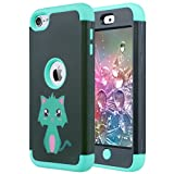 ULAK iPod 6 Case,iPod Touch 5 Case, Heavy Duty High Impact 3in1 Hybrid Full Body Impact Resistant Shockproof PC Silicone Protective Cover for iPod Touch 5th 6th Generation (Mint Green Cat)