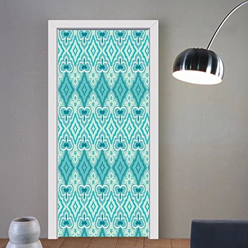 Gzhihine custom made 3d door stickers Teal Decor Triangle Mosaic Polygon Shapes Decorative Lights Shadows Effect Illustration Decor Teal Green For Room Decor 30x79