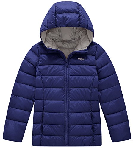 (Wantdo Girl's Lightweight Puffer Down Jacket with Hood Packable Outdoors Wind Breaker(Navy, 10/12))