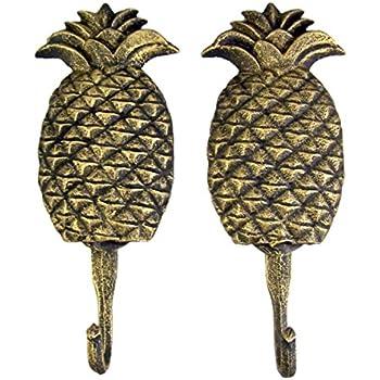 "4-1//4/"" Vintage PINEAPPLE Fruit Strong HOOK Hanger Brass Coat Hat Hanger #C13"
