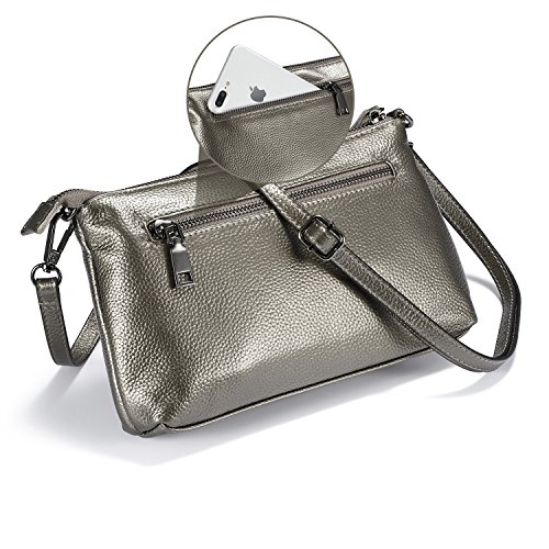 Bag Clutch Wallet Womens Lecxci Purse Crossbody Zipper Slots Bronze Card Phone 3 with Women Small for Silver Leather 4wI8wqYx