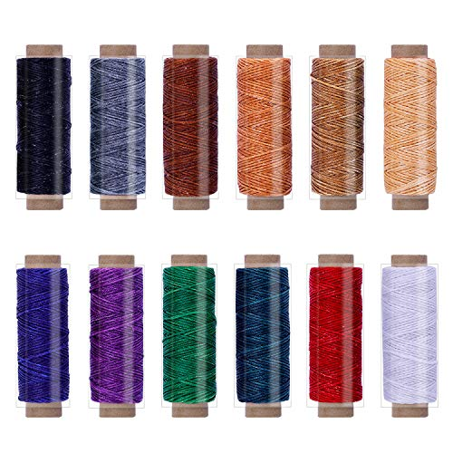 BUTUZE 660Yards Leather Sewing Waxed Thread - 150D 55Yards Per Spool Stitching Thread for Leather Craft DIY/Bookbinding/Shoe Repairing/Leather Projects - $9.99