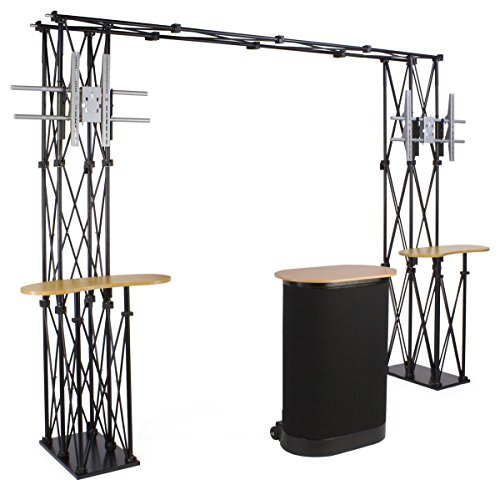 Portable Trade Show Display, 134 x 93 x 24-Inch, With Brackets For Two 60-Inch Flat Panel TVs, And A Rolling Case