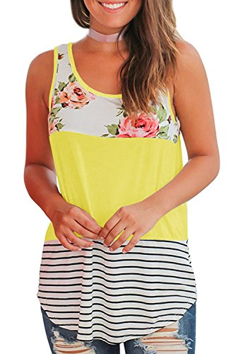 Gemijack Womens Tank Tops Summer Casual Loose Fit Floral Striped Flowy Sleeveless Shirts