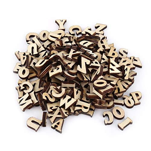 Yosooo Mixed Wooden Alphabet A-Z Letters 0-9 Numbers Unpainted DIY Decorations Kids Early Educational Learning Toys Games 200Pcs ()