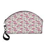 Floral-Beautiful-Womens-semi-circular-cosmetic-bagWild-Garden-Foliage-Dahlia-Peony-Pansy-Flora-Pink-Petals-Pastel-Colors-Feminine-Decorative-For-traveling108Lx33Wx66H