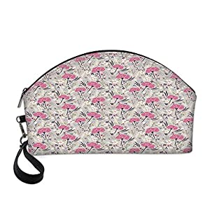 "Floral Beautiful Women's semi circular cosmetic bag,Wild Garden Foliage Dahlia Peony Pansy Flora Pink Petals Pastel Colors Feminine Decorative For traveling,10.8""Lx3.3""Wx6.6""H 50"