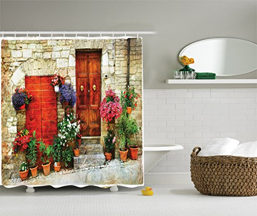 Ambesonne Tuscan Decor Collection, Flowers Outside Home in Italian Hilltown of Assisi Door, Polyester Fabric Bathroom Shower Curtain Set with Hooks, Coral Pink Ivory Red (Party City In Coral Springs)