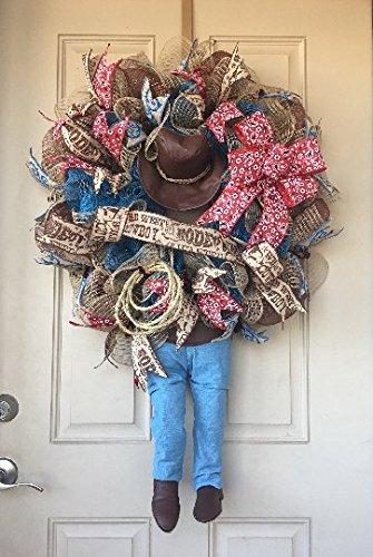 Cowboy Wreath with Plush Dangling Legs, Cowboy Hat, Rope, Bandana and Cowboy Ribbons and Bow (Bandana Wreath)