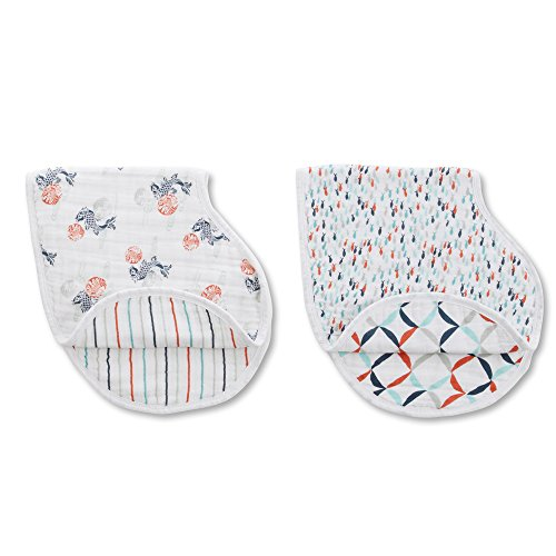 aden + anais Classic Burpy Bib, Tea Collection, 100% Cotton Muslin, Soft Absorbent 4 Layers, Multi-Use Burp Cloth and Bib, 22.5