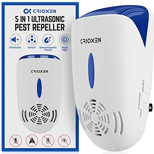 Crioxen Ultrasonic Pest Repeller Plug in - Electronic Portable Pet Sаfe - 5 in 1 Electromagnetic Waves Ultrasound Control - Repellent for Mice Rаts Mоsquitos Spiders Rоdents Insects - Indoor
