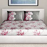 SPACES Courtyard Pink 210 TC Cotton King XL Bed sheet With 2 Pillow Covers