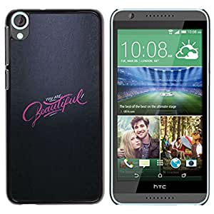 YOYOYO Smartphone Protección Defender Duro Negro Funda Imagen Diseño Carcasa Tapa Case Skin Cover Para HTC Desire 820 - gris rosado eres hermosa inspirador