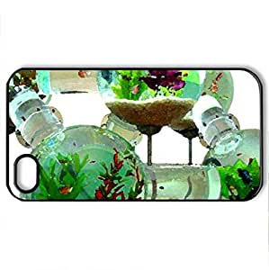 Fish tank - Case Cover for iPhone 4 and 4s (Fish Series, Watercolor style, Black)