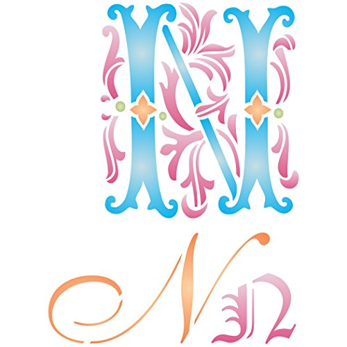 """Initial N Stencil (size 6.5""""w x 8.8""""h) Reusable Stencils for Painting - Best Quality Letter Wall Art Décor Ideas - Use on Walls, Floors, Fabrics, Glass, Wood, Cards, and -"""