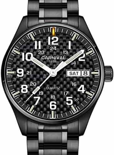 a937aa45603 Carnival Mens Sport Military T25 Tritium Luminous 30m Waterproof Steel  Watchband Carbon Fibre Dial Quartz Wrist