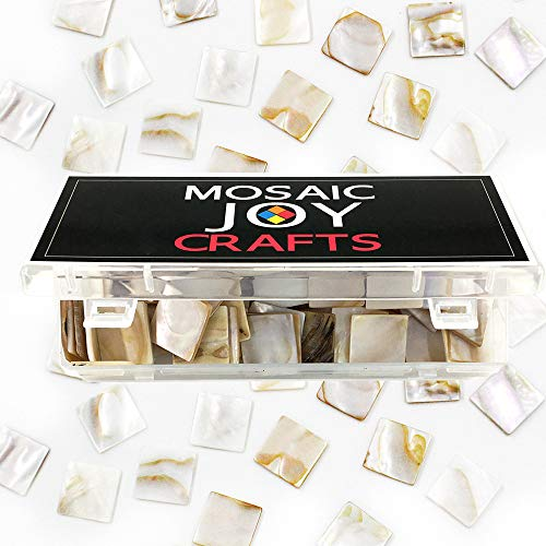Mosaic Joy 240 Pieces/1 Pound Genuine Mosaic Tiles Mother of Pearl Bulk - Bathroom Mirrors Pearl Framed Of Mother