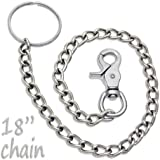 "18"" Chrome Steel Wallet Chain Trigger Snap Hook"