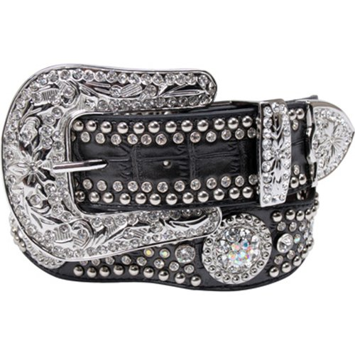 Nocona Women's Rhinestone Embellished Croc Print Leather Belt Black Large