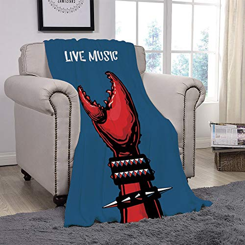 Light weight Fleece Throw Blanket/Indie,Crab Claw with Spiky Wristbands Heavy Rock Live Music Performance Inscription Art Decorative,Blue Red Black/for Couch Bed Sofa for Adults Teen Girls Boys