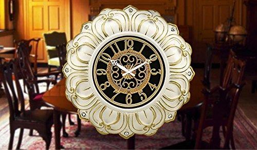 XIE Mute the European-style living room wall clock creative arts clocks resin wall clock , porcelain white phnom penh , other - Resin White Clock