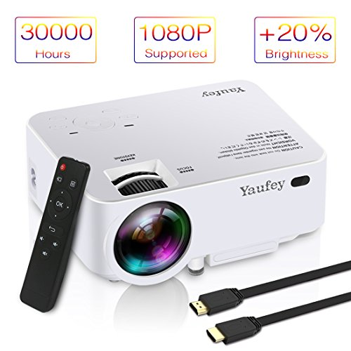 Laptop Projector, Yaufey Digital Video Projector Support 1080P for Home Cinema TV Laptop Game iPhone Android Smartphone with HDMI Cable (2018 Upgraded Version) by Yaufey