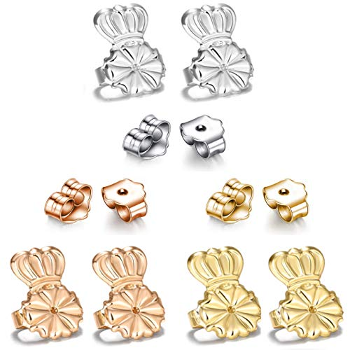 Sterling Silver 100 Magic - AmzonBasics - Original Magic Earring Lifters ❤ 3 Pairs of Adjustable Earring Lifts + Bonus 3 Pairs Earring Backs (Earring Lifters 3 + 3 Backs Color) (Earring Lifters Sets)
