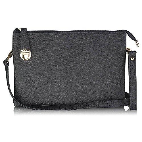 Trendstar mujeres diseñador exterior grande embrague Bolso de mano para mujer, diseño de perfume Soir duro caso Bolsa de hombro A - Black