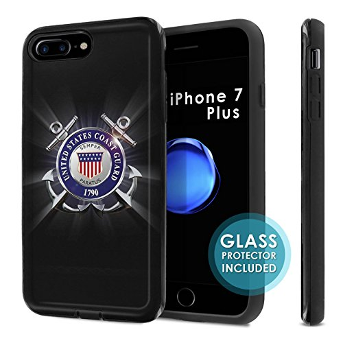 - iPhone 7Plus / 8Plus [SlickCandy] Dual Layer Protection Shock Proof [Glass Protector] [Phone Case] - [United States Coast Guard] for iPhone [7 Plus] [8 Plus]