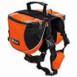 BUYITNOW Dog Backpack for Hiking Adjustable Pet Saddlebag Harness for Medium Dogs, Orange