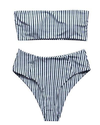 RUUHEE Women Bandeau High Waisted Stripe Pattern Two Piece Swimsuits Bikini Set (M(US Size (1 Piece Bandeau Swimsuit)