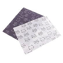 Baoblaze 2 Pieces 50x40cm Quilting Fabric Cartoon Cat Cotton Cloth DIY Sewing Accessories
