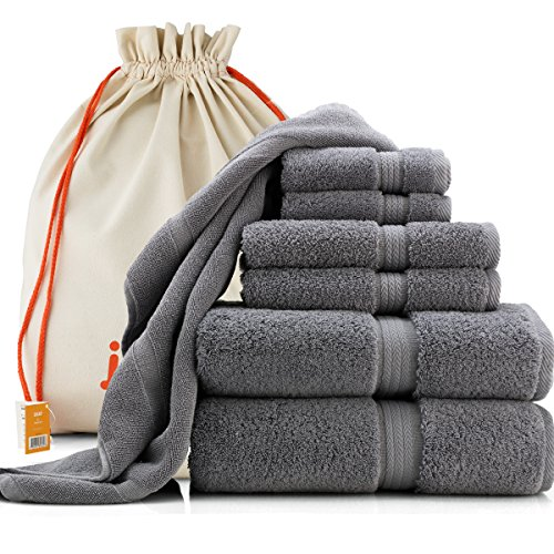 joluzzy Luxury Towel Set - 100% Long-Staple Turkish Cotton - High Absorbent 700 GSM - Soft & Plush - Hotel Quality - 2 Bath Towels, 2 Hand Towels, 2 Face - Plush Quality