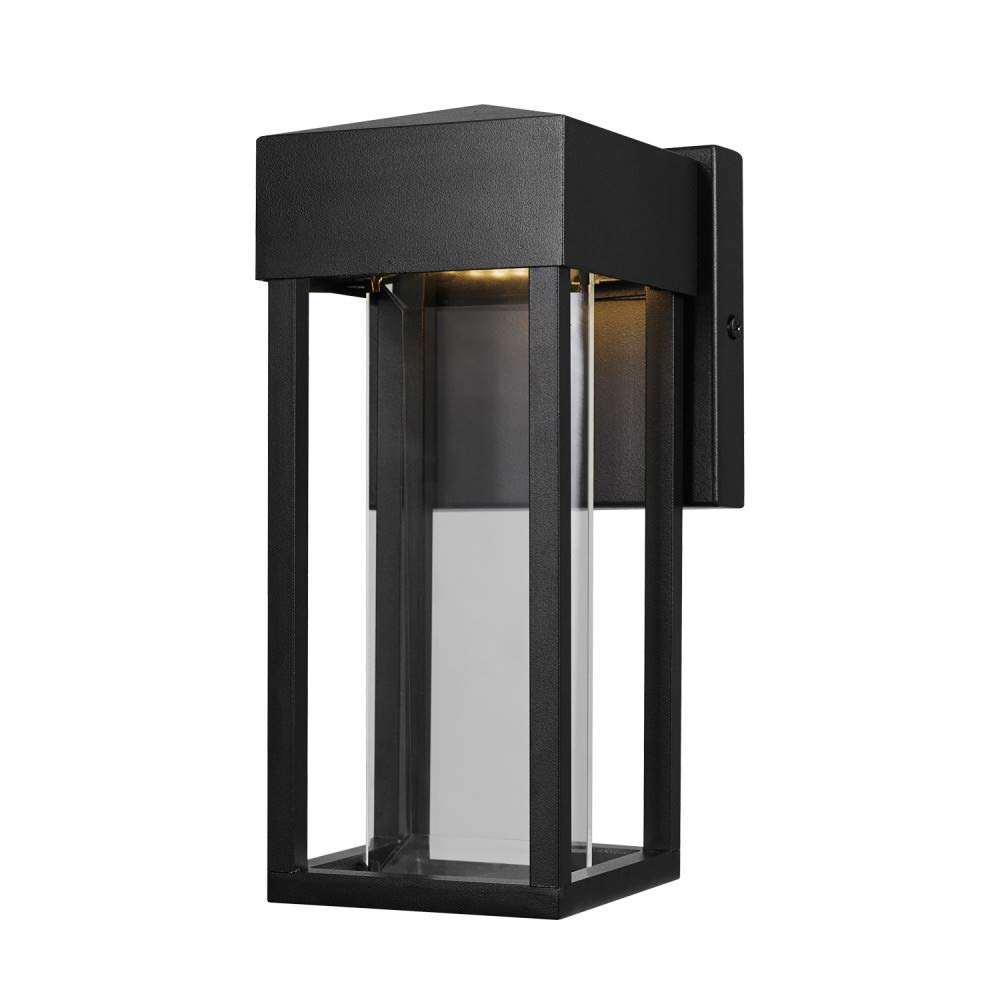 Globe Electric Bowie LED Integrated Outdoor Indoor Wall Sconce, Matte Black, Clear Glass Insert, 10W, 420 Lumens 44246