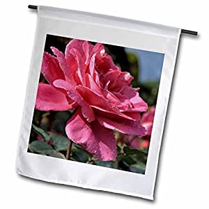 Houk Photography - Flowers - Wetted red rose from the side - 12 x 18 inch Garden Flag (fl_78993_1)