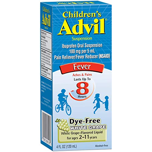 Children's Advil Suspension (4 fl. oz, White Grape-Flavored), 100mg Ibuprofen Fever Reducer/Pain Reliever, Dye-Free, Liquid Pain Medicine, Ages 2 - 11, (Pack of 2)