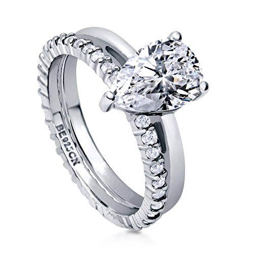 BERRICLE Rhodium Plated Sterling Silver Pear Cut Cubic Zirconia CZ Solitaire Engagement Wedding Ring Set 2.36 CTW Size 6