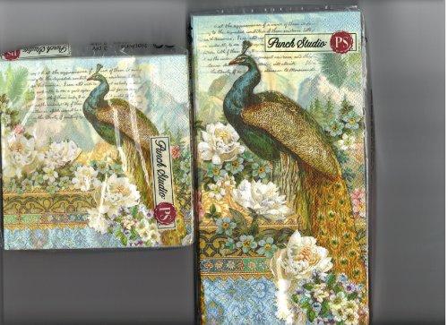 Punch Studio Vintage Peacock Floral Napkins (Beverage)