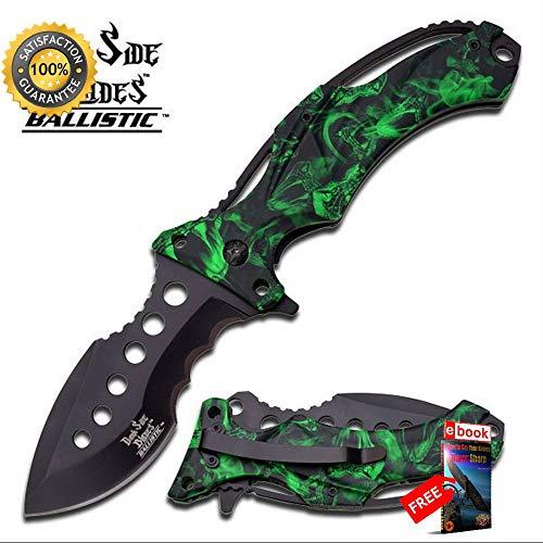 Dark Side Blades Spring ASSISTED Folding Sharp KNIFE Green Cobra Camo Pocket Blade Combat Tactical Knife + eBOOK by Moon Knives]()