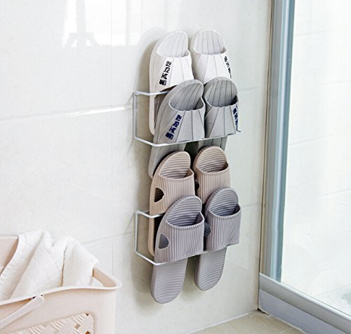LONGPRO Wall Mounted 2 Tier Shoes Rack Slipper Shelf Storage Organizer Shoes Shelf Holder Sticky Shoe Storage Organizer Wall Shoe Hangers Wall Shoe Hangers Set of 2 Pack for Entryway Bathroom Shower R by Longpro (Image #8)