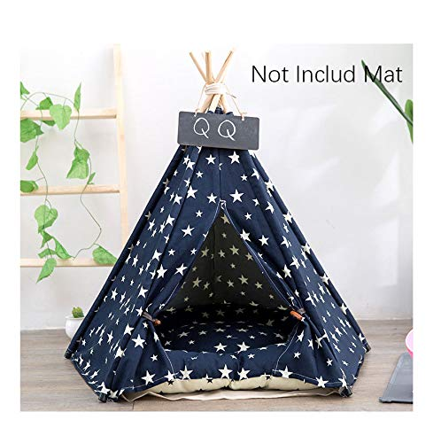 3 50x50x60cmCookisn JORMEL Pet Teepee Tent Dog Cat Toy House Portable Washable Pet Bed Star Pattern Not Contain Mat 01 40x40x50cm