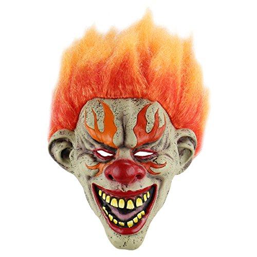 Amosfun Halloween Cosplay Mask Horrific Mask Creepy Terrifying Toothy Flame Clown Mask for $<!--$19.99-->