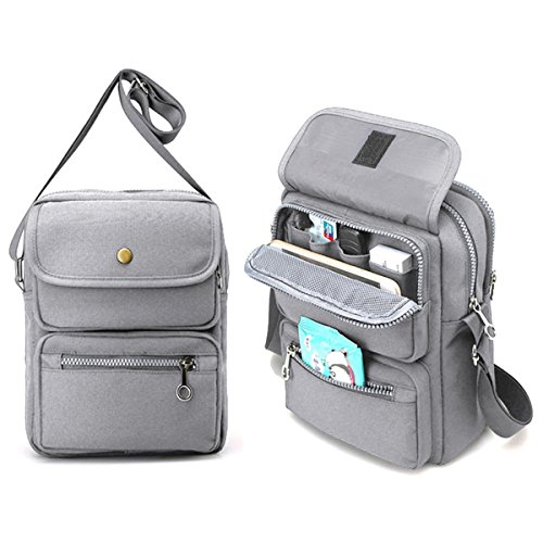 JOSEKO Crossbody Bag for Women, Multi-Pocketed Nylon Travel Passport Bag Shoulder Bags Cell Phone Purse/Wallet Messenger Bags Grey 7.87 inch(L) x 2.76 inch(W) x 10.24 (Nylon Travel Bag)