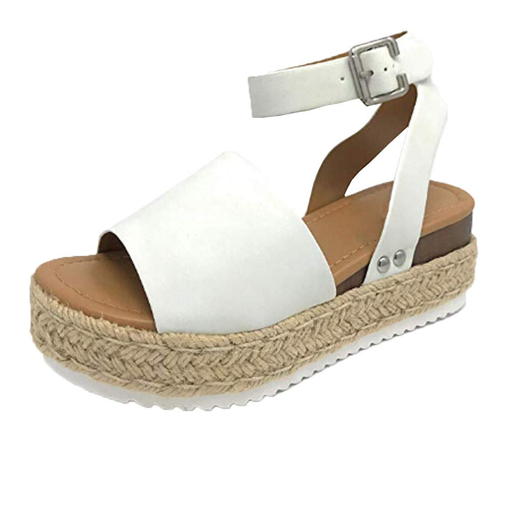 Thenxin Women's Rubber Sole Studded Wedge Sandals Casual Buckle Ankle Strap Open Toe Shoes (White,8.5 US)