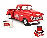 Diecast Car & Mechanic Set Package - 1955 Chevy 5100 Stepside Pickup & Cooler, Red - Motorcity Classics 435683 - 1:24 Scale Diecast Model Toy Car w/Mechanic Set