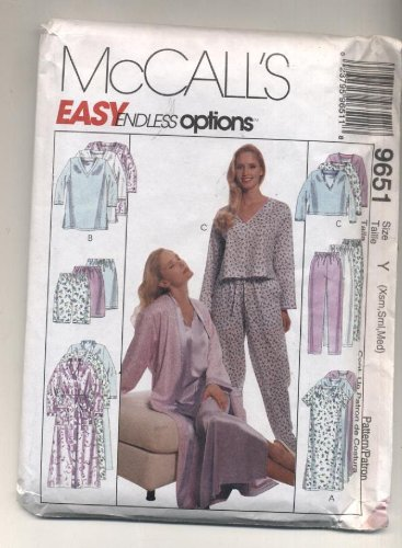 McCalls Endless Options Robe, Gown, Nightshirt, Pajamas Sewing Pattern 9651