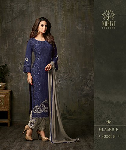 Ethnic wear Pakistani Straight Womens Kameez Blue Georgette Salwar for Delisa Indian Eqpw4E6