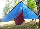 DANCHEL Portable Parachute 210T Polyester Camping & Hiking Ultralight Hanging Hammock with Sleeping Bag Tent,Blue